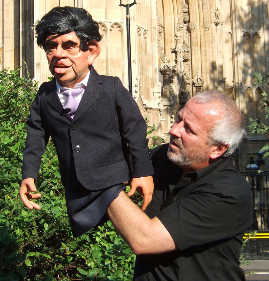 Phil Eason Puppeteering Gordon Brown Puppet For The BBC